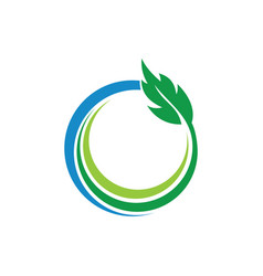 circle green leaves and ecology logo vector image