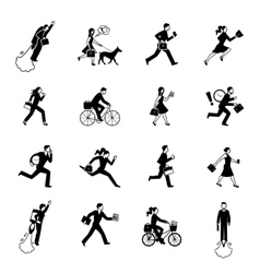 Hurrying Business People Monochrome Set vector image vector image
