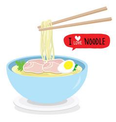 japanese noodle ramen food bowl vector image