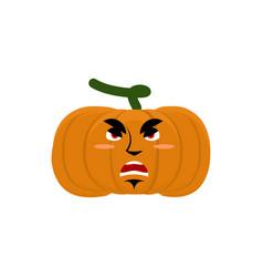 Pumpkin evil angry emoji halloween vegetable vector