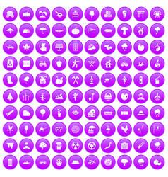 100 tree icons set purple vector
