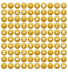 100 veterinary icons set gold vector