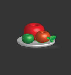 3d apples set with green leaf on a plate vector image