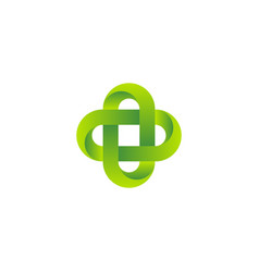 3d bio green logo in celtic know style business vector image