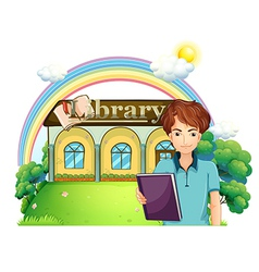 A boy holding a book standing in front of the vector image