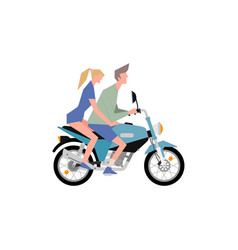 a girl and guy ride motorcycle together vector image