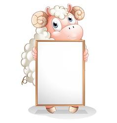 A sheep holding an empty bulletin board vector