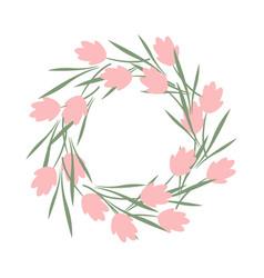 a wreath pink flowers summer wreath frame vector image