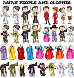 Asian people and clothes vector