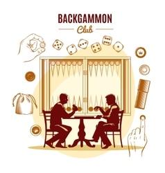 Backgammon Club Vintage Style Design vector