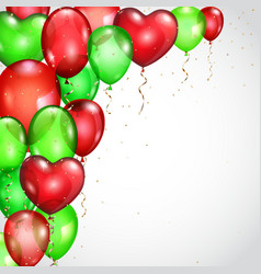 Background with red and green balloons vector image