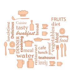 Beige - word collage for kitchen with kitchenware vector