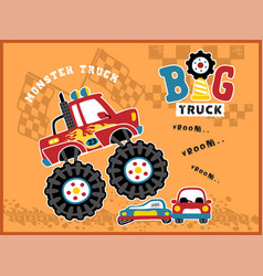 big truck cartoon in action vector image