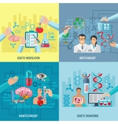 Biotechnology icons composition square concept vector