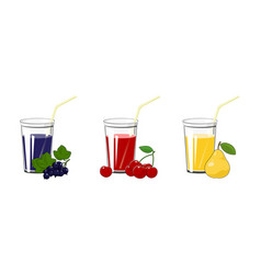 blackcurrant cherry and pear juices vector image