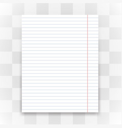 blank white lined paper on transparent background vector image