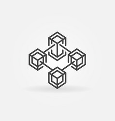 blockchain line concept crypto icon or sign vector image
