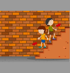 Boys walking up and down the stairs vector