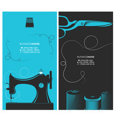 Business card tailor cutting and sewing vector