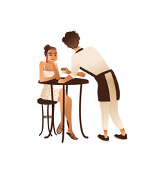 cafe or coffee shop visitor woman and waiter flat vector image