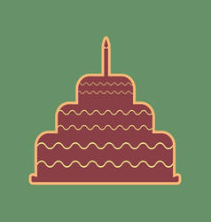 cake with candle sign cordovan icon and vector image