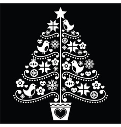 Christmas tree design - folk style on black vector