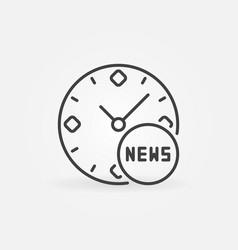 Clock with news sign concept icon in thin vector