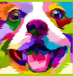 Close up of face happy dog vector