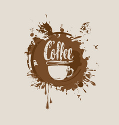 Coffee banner with coffee cup stains and splashes vector