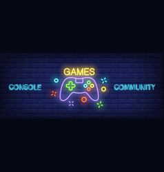 Console community neon style banner gamepad on vector