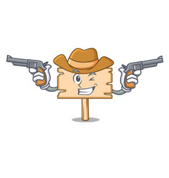 cowboy wooden board character cartoon vector image