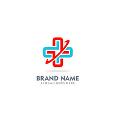 Cross medic plus colored logo vector