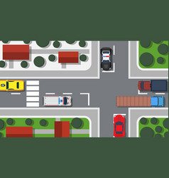 Crossroad top view building map city car game vector