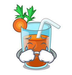 Crying fresh smoothie carrot in cartoon table vector