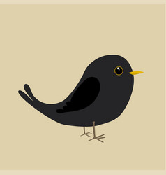 Cute blackbird vector