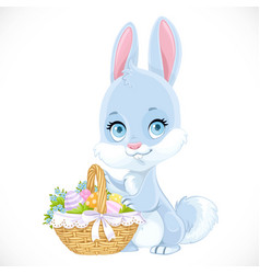cute easter babunny with a basket eggs vector image