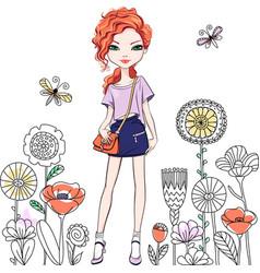 cute fashionable girl vector image