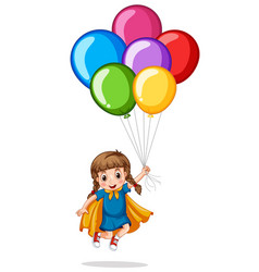 Cute girl and colorful balloons vector