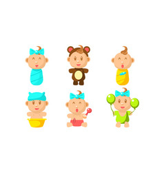 cute little bacharacter set adorable infant vector image