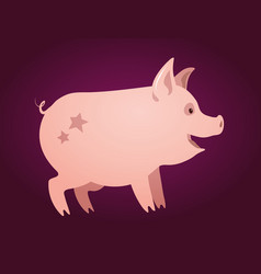 cute pink piglet with stars on his back vector image
