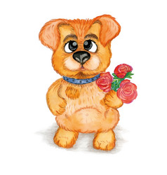cute puppy a bouquet of flowers watercolor vector image