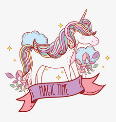 cute unicorn with horn and clouds with plants vector image