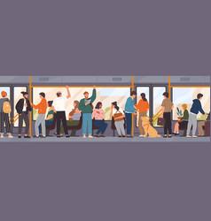 different cartoon people go public transport vector image