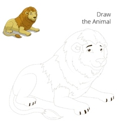 Draw animal lion educational game vector