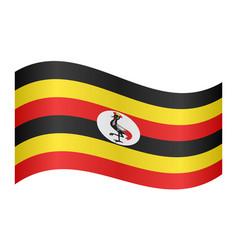 flag of uganda waving on white background vector image