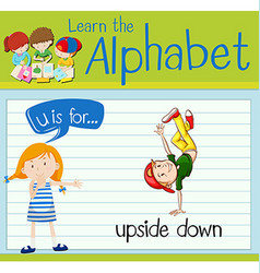 Flashcard letter U is for upside down vector