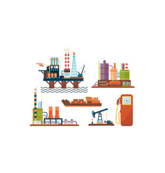flat set of oil and gas production industry vector image