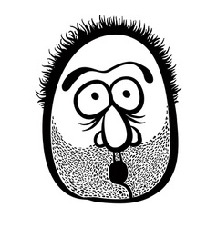 Funny cartoon face with stubble black and white vector image