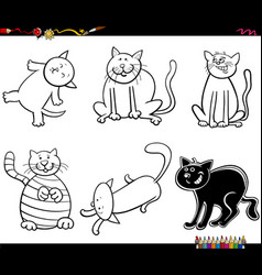 funny cat characters set coloring book page vector image