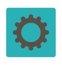 Gear flat grey and cyan colors rounded button vector